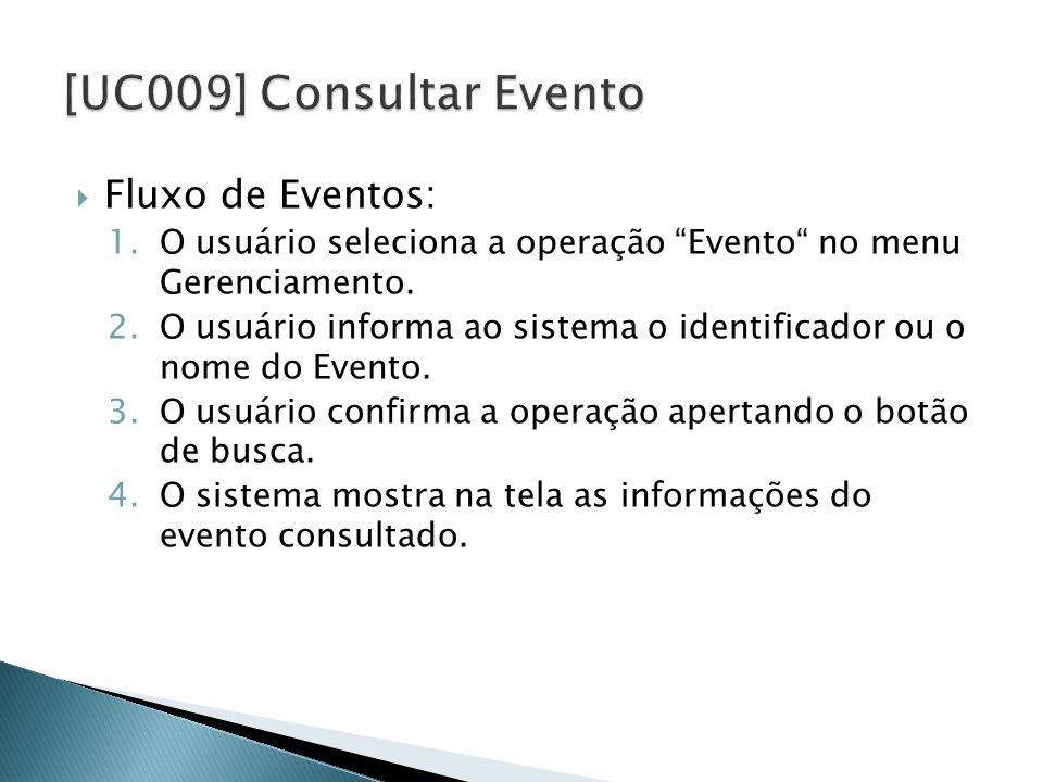  Fluxo de Eventos: 1.O usuário seleciona a operação Evento no menu Gerenciamento.