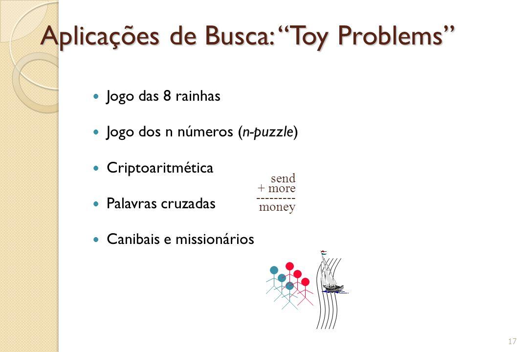 """Aplicações de Busca: """"Toy Problems"""" Jogo das 8 rainhas Jogo dos n números (n-puzzle) Criptoaritmética Palavras cruzadas Canibais e missionários 17 sen"""
