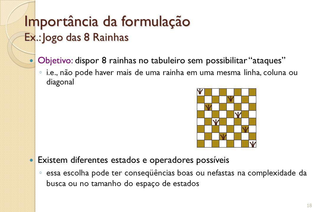 """Importância da formulação Ex.: Jogo das 8 Rainhas Objetivo: dispor 8 rainhas no tabuleiro sem possibilitar """"ataques"""" ◦ i.e., não pode haver mais de um"""