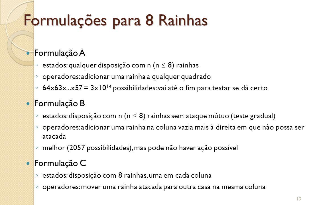 Formulações para 8 Rainhas Formulação A ◦ estados: qualquer disposição com n (n  8) rainhas ◦ operadores: adicionar uma rainha a qualquer quadrado ◦