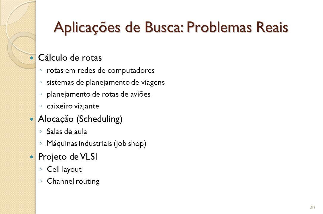 Aplicações de Busca: Problemas Reais Cálculo de rotas ◦ rotas em redes de computadores ◦ sistemas de planejamento de viagens ◦ planejamento de rotas d