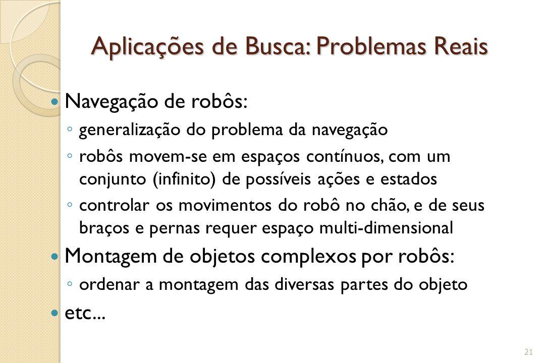 Aplicações de Busca: Problemas Reais Navegação de robôs: ◦ generalização do problema da navegação ◦ robôs movem-se em espaços contínuos, com um conjun
