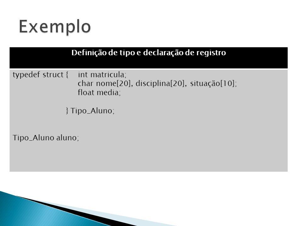 Definição de tipo e declaração de registro typedef struct { int matricula; char nome[20], disciplina[20], situação[10]; float media; } Tipo_Aluno; Tip