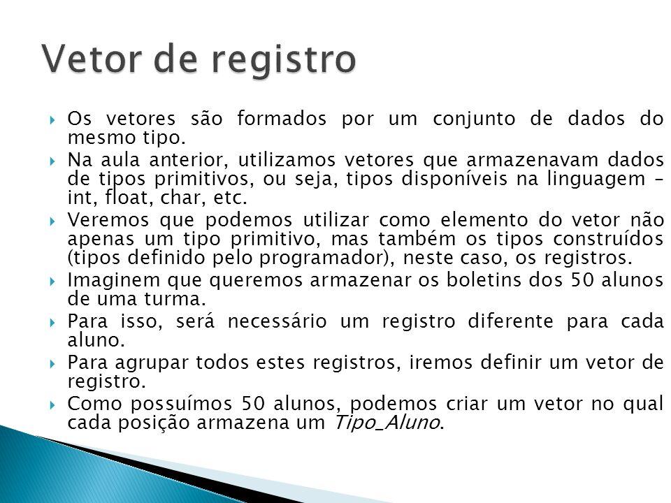 Os vetores são formados por um conjunto de dados do mesmo tipo.  Na aula anterior, utilizamos vetores que armazenavam dados de tipos primitivos, ou