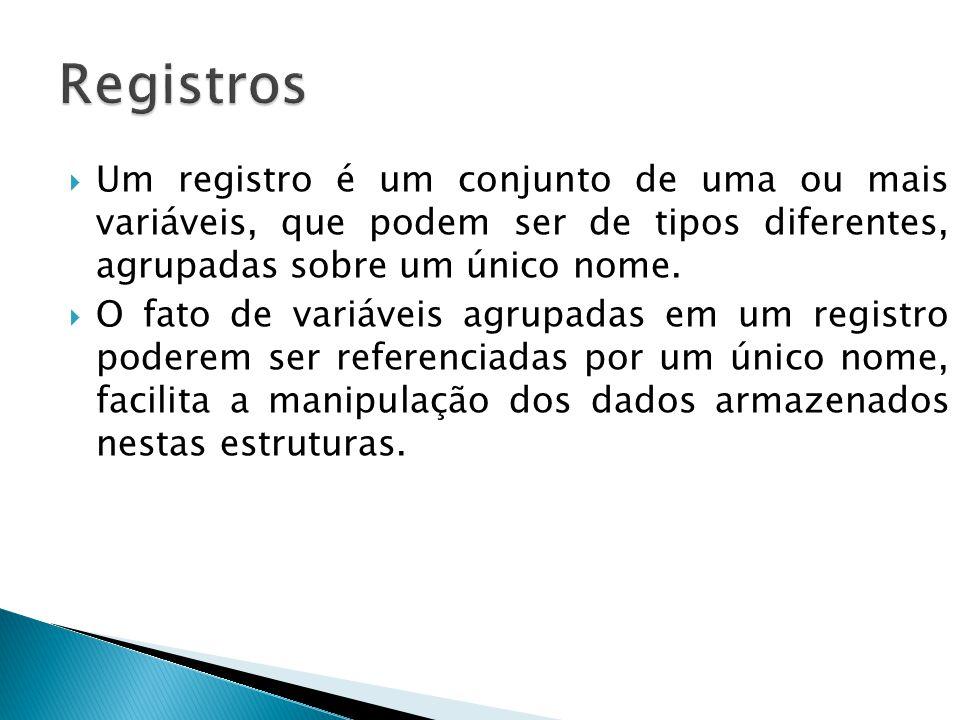  Um registro é um conjunto de uma ou mais variáveis, que podem ser de tipos diferentes, agrupadas sobre um único nome.  O fato de variáveis agrupada