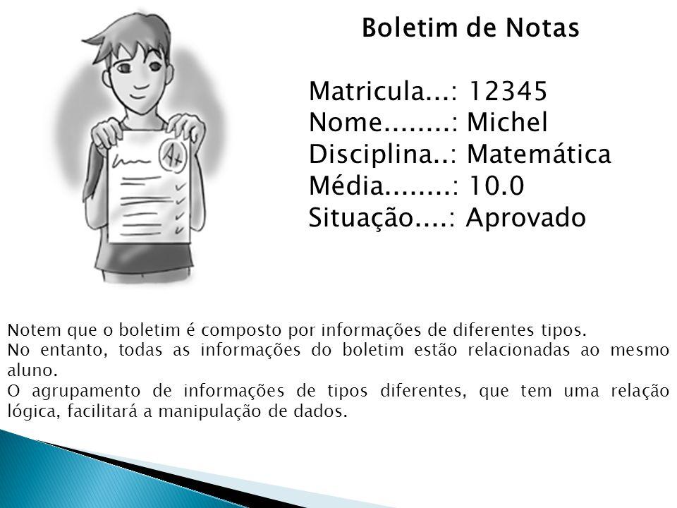 Boletim de Notas Matricula...: 12345 Nome........: Michel Disciplina..: Matemática Média........: 10.0 Situação....: Aprovado Notem que o boletim é co