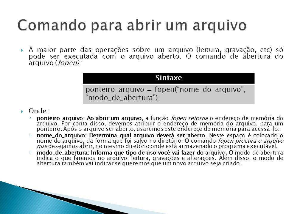  A maior parte das operações sobre um arquivo (leitura, gravação, etc) só pode ser executada com o arquivo aberto.