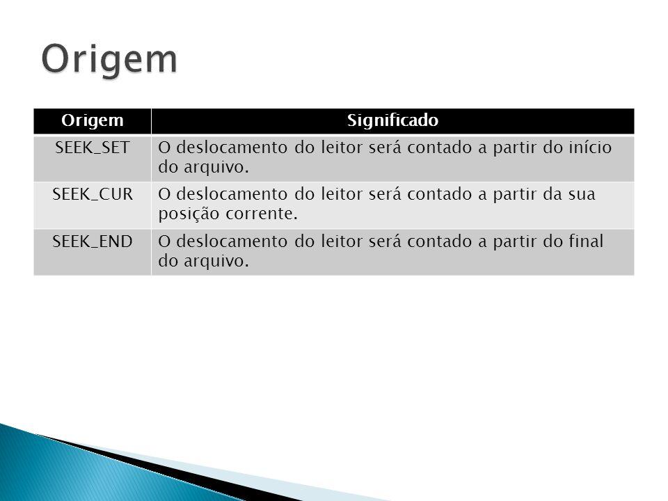 OrigemSignificado SEEK_SETO deslocamento do leitor será contado a partir do início do arquivo.