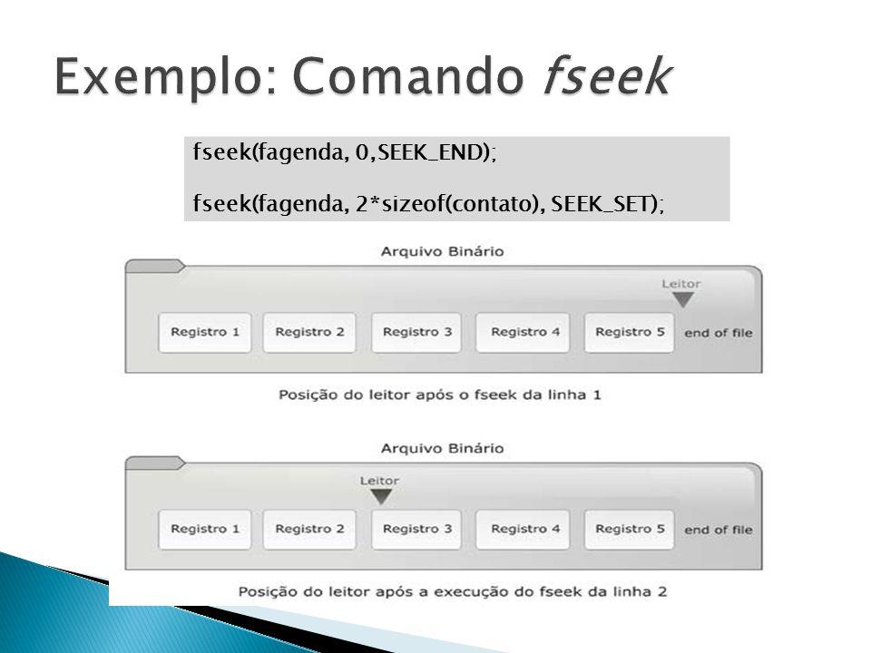 fseek(fagenda, 0,SEEK_END); fseek(fagenda, 2*sizeof(contato), SEEK_SET);