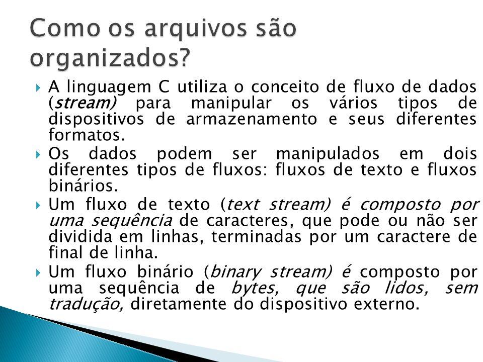  A linguagem C utiliza o conceito de fluxo de dados (stream) para manipular os vários tipos de dispositivos de armazenamento e seus diferentes formatos.