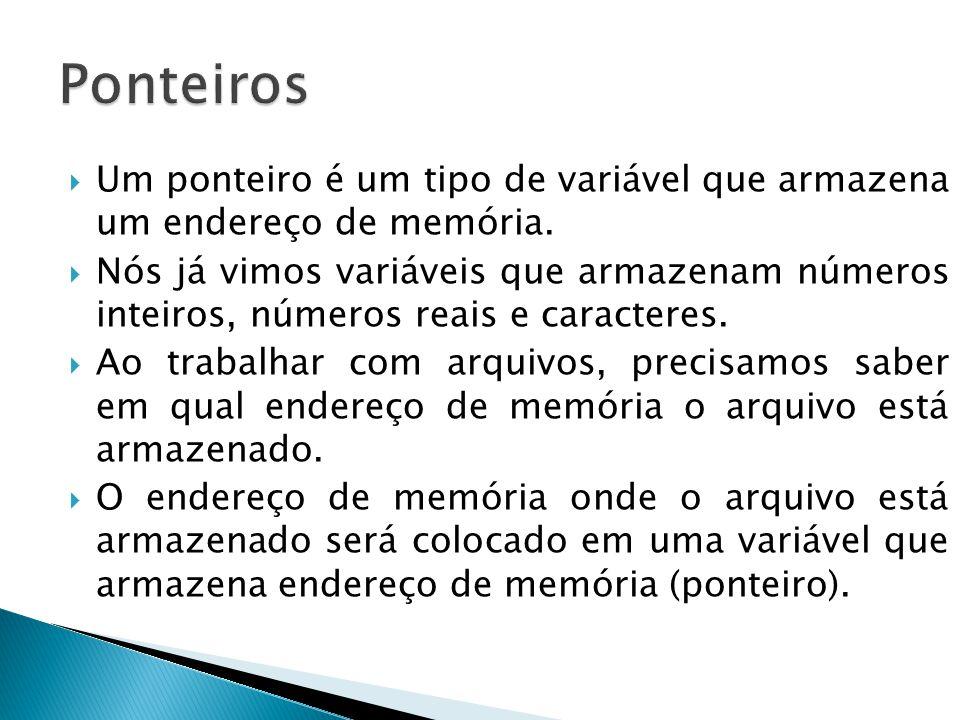  Um ponteiro é um tipo de variável que armazena um endereço de memória.
