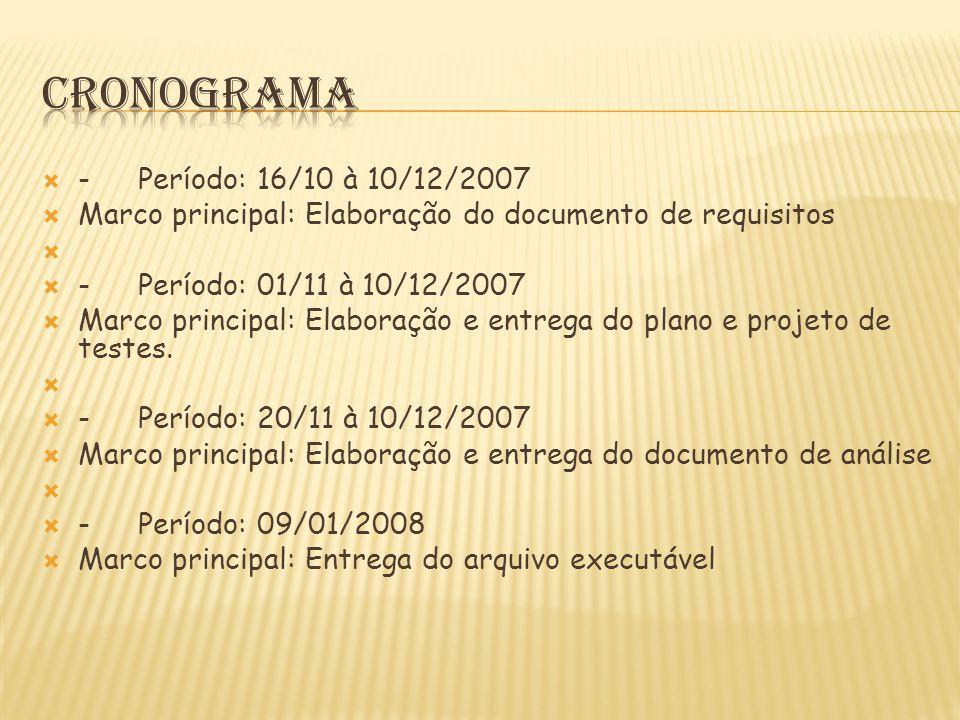  -Período: 16/10 à 10/12/2007  Marco principal: Elaboração do documento de requisitos   -Período: 01/11 à 10/12/2007  Marco principal: Elaboração e entrega do plano e projeto de testes.