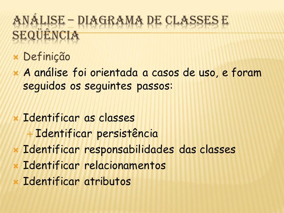  Definição  A análise foi orientada a casos de uso, e foram seguidos os seguintes passos:  Identificar as classes  Identificar persistência  Identificar responsabilidades das classes  Identificar relacionamentos  Identificar atributos