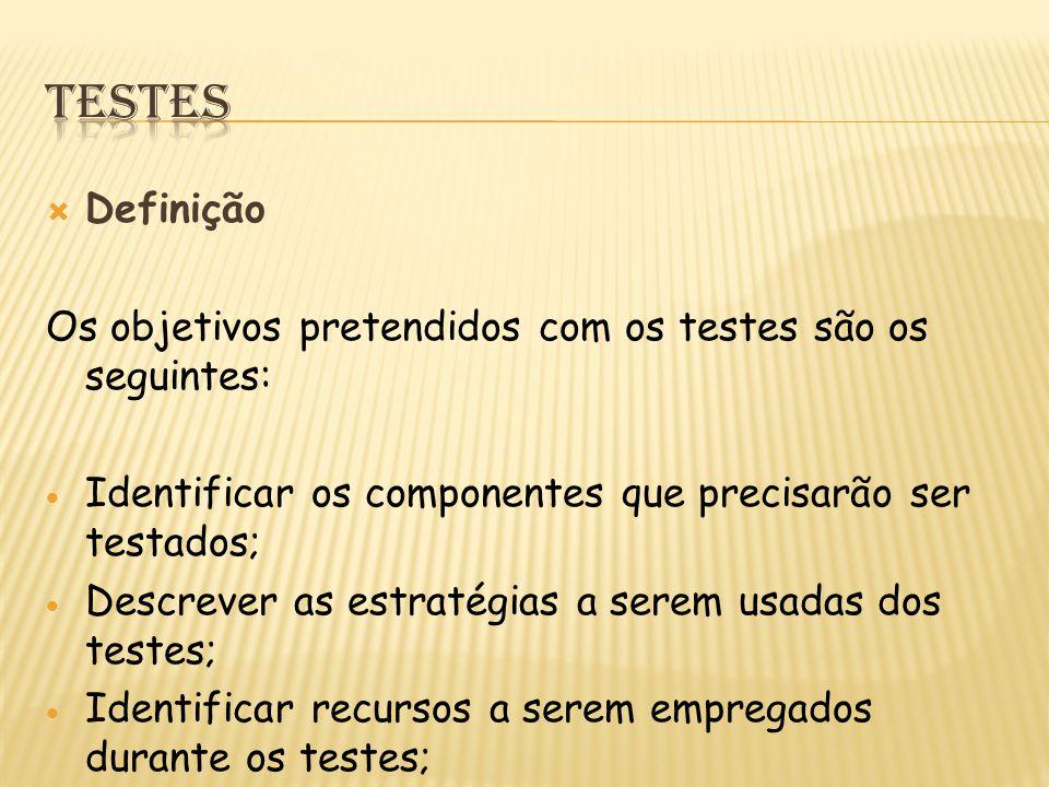  Definição Os objetivos pretendidos com os testes são os seguintes:  Identificar os componentes que precisarão ser testados;  Descrever as estratégias a serem usadas dos testes;  Identificar recursos a serem empregados durante os testes;  Traçar um cronograma para orientar os testes.