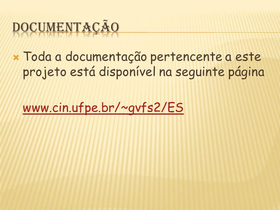  Toda a documentação pertencente a este projeto está disponível na seguinte página www.cin.ufpe.br/~gvfs2/ES
