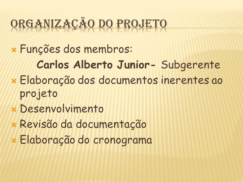  Funções dos membros: Carlos Alberto Junior- Subgerente  Elaboração dos documentos inerentes ao projeto  Desenvolvimento  Revisão da documentação  Elaboração do cronograma