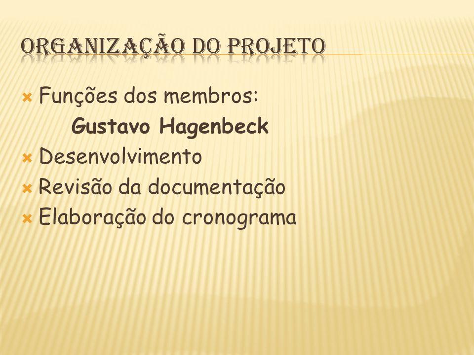  Funções dos membros: Gustavo Hagenbeck  Desenvolvimento  Revisão da documentação  Elaboração do cronograma