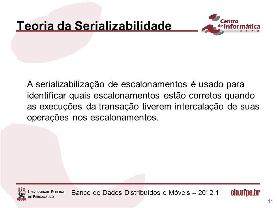 Banco de Dados Distribuídos e Móveis – 2012.1 Teoria da Serializabilidade A serializabilização de escalonamentos é usado para identificar quais escalo