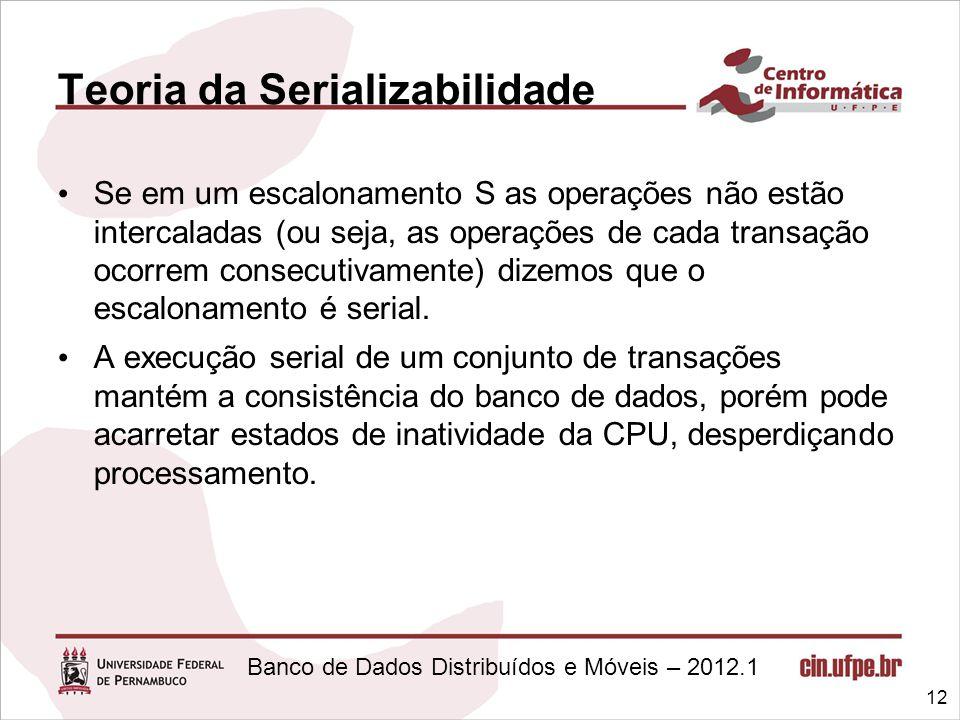Banco de Dados Distribuídos e Móveis – 2012.1 Teoria da Serializabilidade Se em um escalonamento S as operações não estão intercaladas (ou seja, as op
