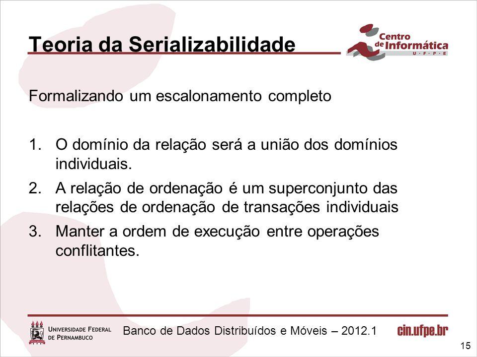 Banco de Dados Distribuídos e Móveis – 2012.1 Teoria da Serializabilidade Formalizando um escalonamento completo 1.O domínio da relação será a união d