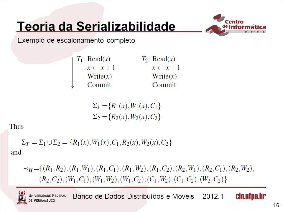 Banco de Dados Distribuídos e Móveis – 2012.1 Teoria da Serializabilidade 16 Exemplo de escalonamento completo