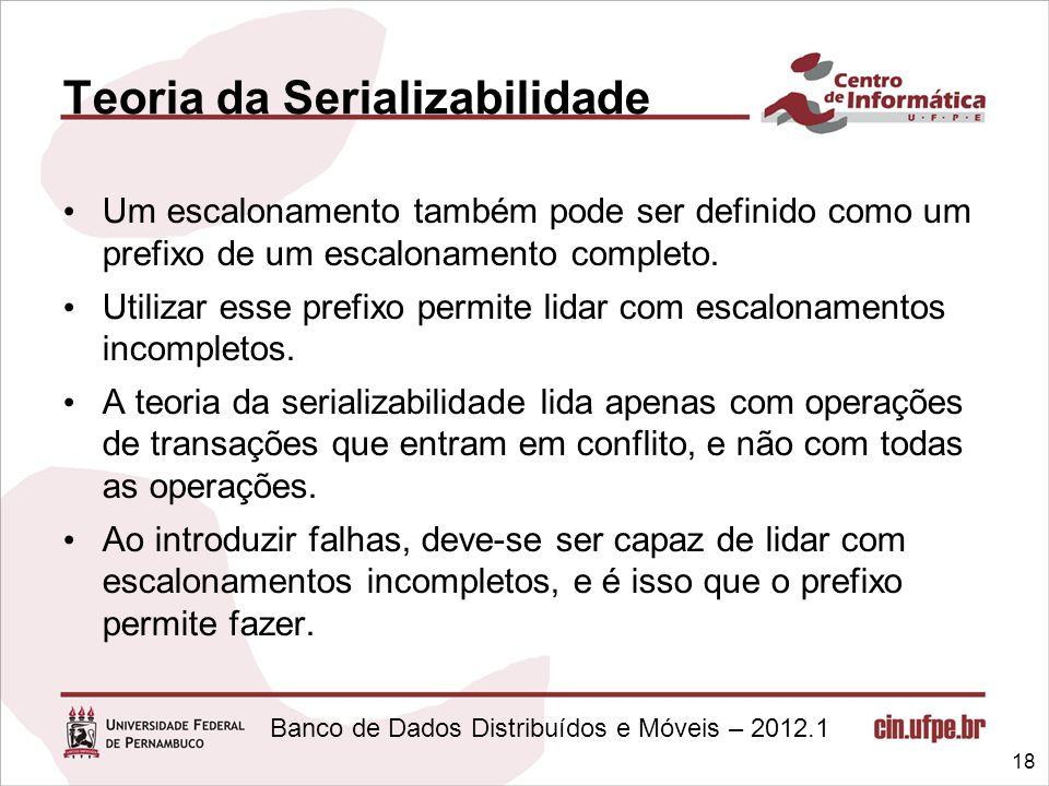 Banco de Dados Distribuídos e Móveis – 2012.1 Teoria da Serializabilidade Um escalonamento também pode ser definido como um prefixo de um escalonament
