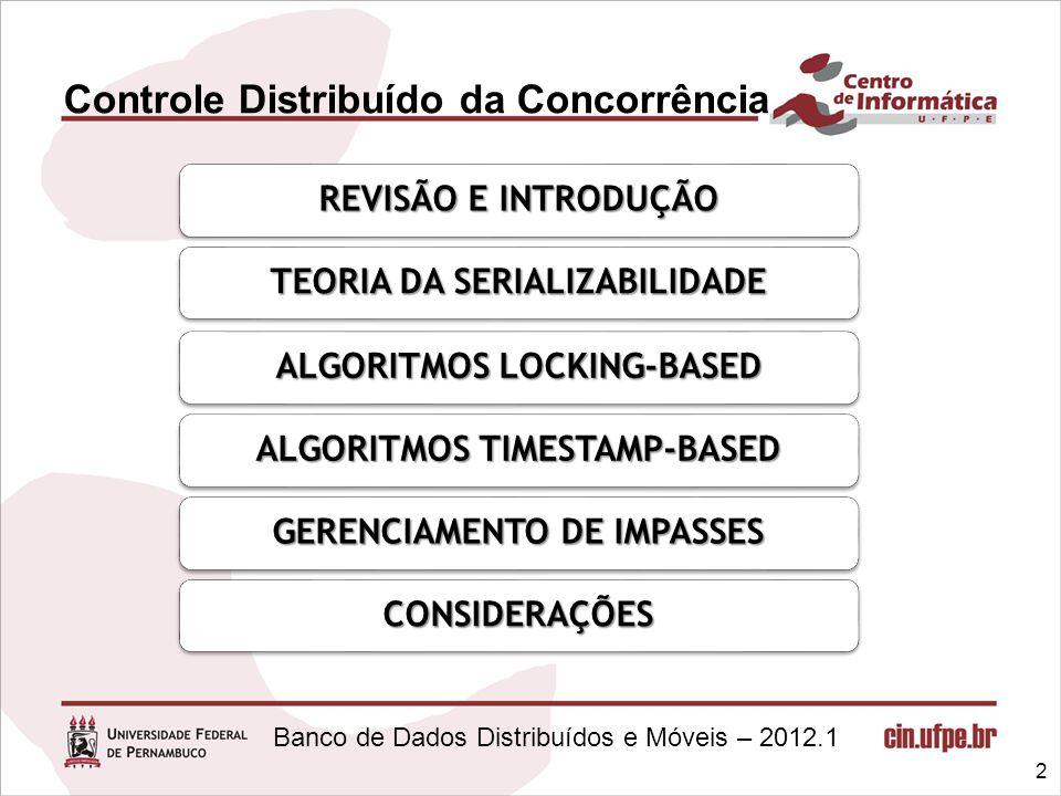 Banco de Dados Distribuídos e Móveis – 2012.1 Controle Distribuído da Concorrência 2 REVISÃO E INTRODUÇÃO TEORIA DA SERIALIZABILIDADE ALGORITMOS LOCKI