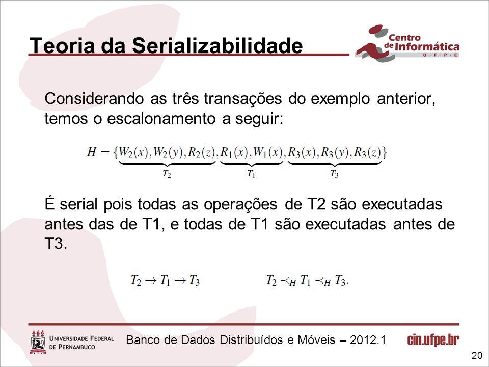 Banco de Dados Distribuídos e Móveis – 2012.1 Teoria da Serializabilidade Considerando as três transações do exemplo anterior, temos o escalonamento a
