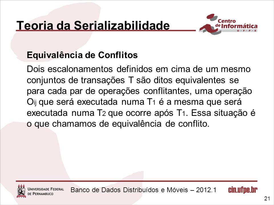 Banco de Dados Distribuídos e Móveis – 2012.1 Teoria da Serializabilidade Equivalência de Conflitos Dois escalonamentos definidos em cima de um mesmo