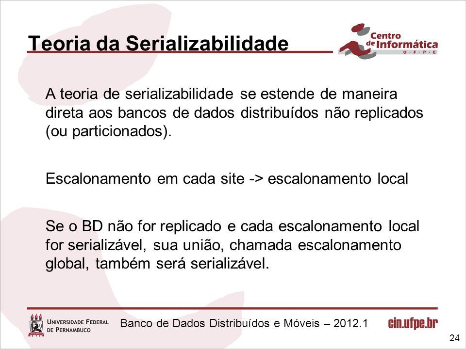 Banco de Dados Distribuídos e Móveis – 2012.1 Teoria da Serializabilidade A teoria de serializabilidade se estende de maneira direta aos bancos de dad
