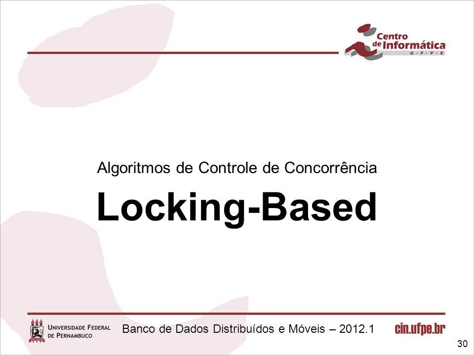 Banco de Dados Distribuídos e Móveis – 2012.1 Algoritmos de Controle de Concorrência Locking-Based 30