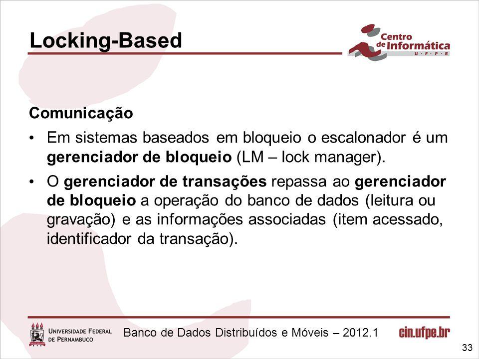 Banco de Dados Distribuídos e Móveis – 2012.1 Comunicação Em sistemas baseados em bloqueio o escalonador é um gerenciador de bloqueio (LM – lock manag