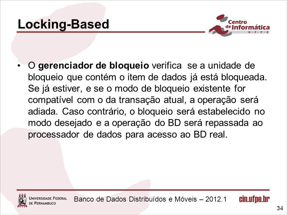 Banco de Dados Distribuídos e Móveis – 2012.1 O gerenciador de bloqueio verifica se a unidade de bloqueio que contém o item de dados já está bloqueada
