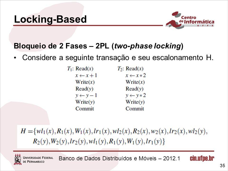 Banco de Dados Distribuídos e Móveis – 2012.1 Bloqueio de 2 Fases – 2PL (two-phase locking) Considere a seguinte transação e seu escalonamento H. 35 L