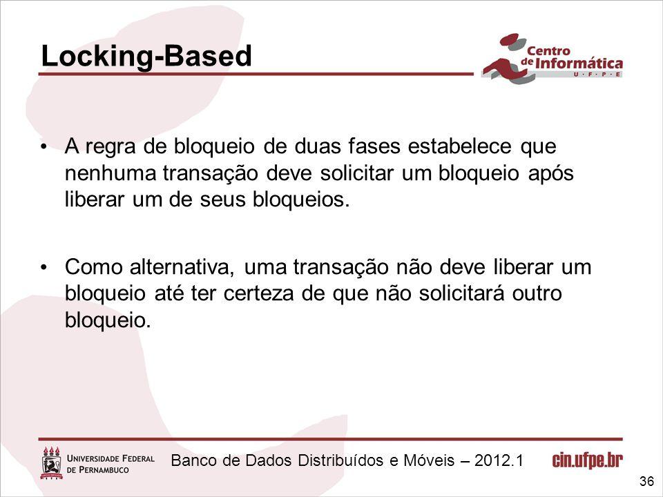 Banco de Dados Distribuídos e Móveis – 2012.1 A regra de bloqueio de duas fases estabelece que nenhuma transação deve solicitar um bloqueio após liber
