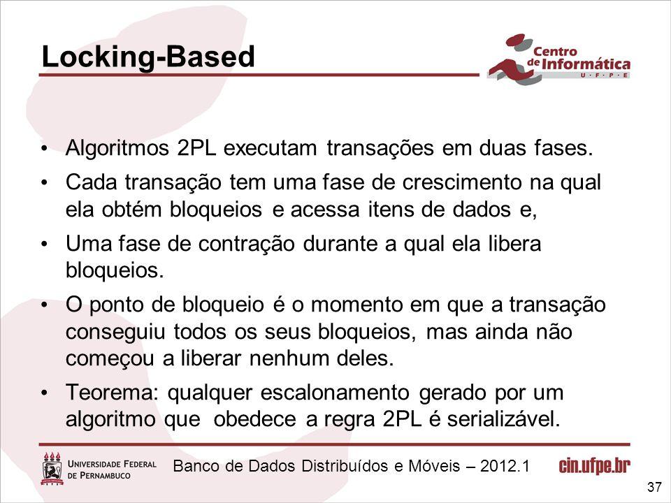 Banco de Dados Distribuídos e Móveis – 2012.1 Algoritmos 2PL executam transações em duas fases. Cada transação tem uma fase de crescimento na qual ela