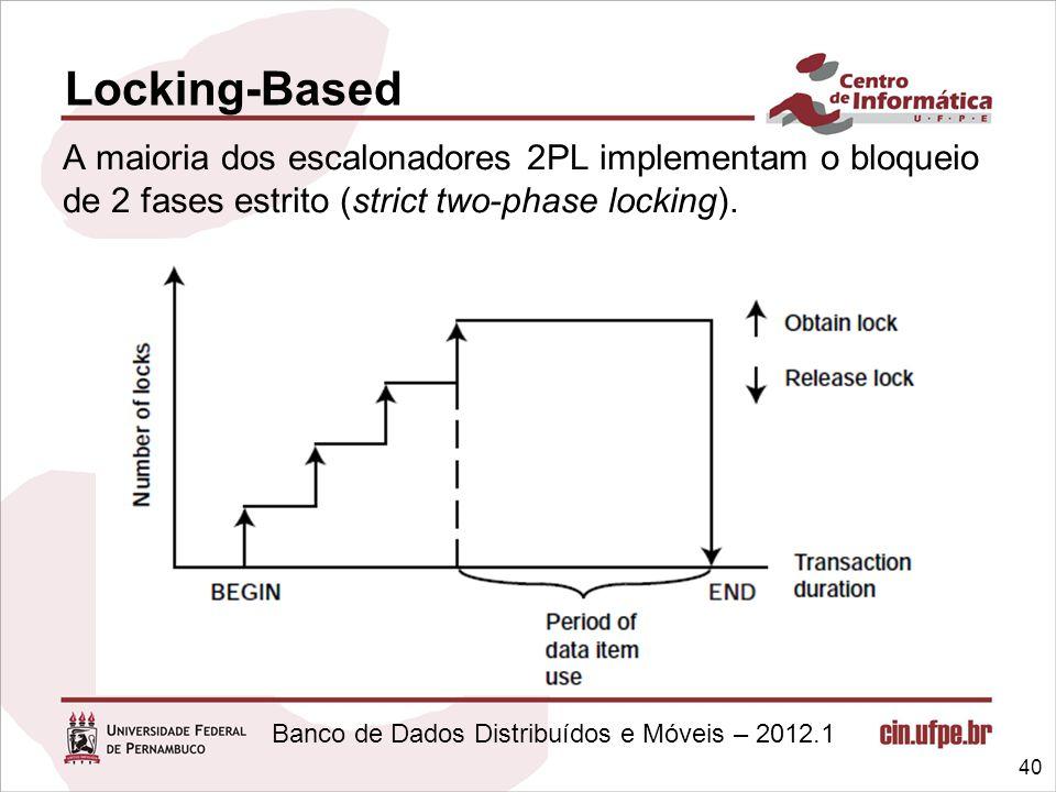 Banco de Dados Distribuídos e Móveis – 2012.1 40 Locking-Based A maioria dos escalonadores 2PL implementam o bloqueio de 2 fases estrito (strict two-p