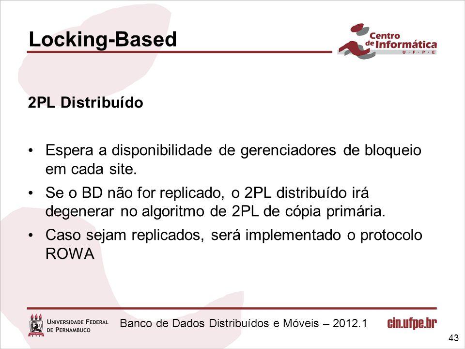 Banco de Dados Distribuídos e Móveis – 2012.1 2PL Distribuído Espera a disponibilidade de gerenciadores de bloqueio em cada site. Se o BD não for repl