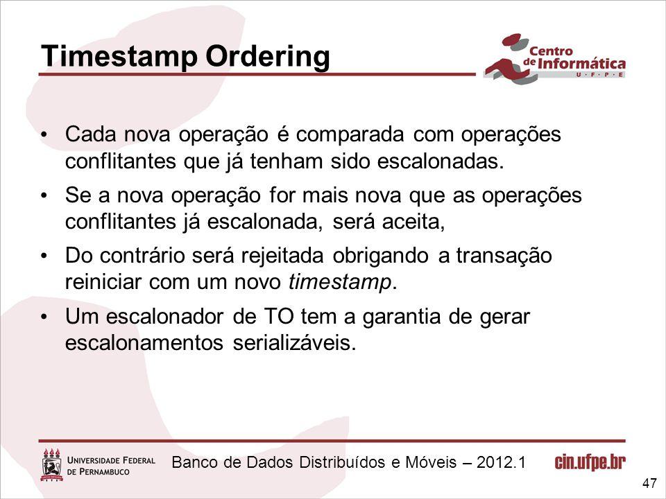 Banco de Dados Distribuídos e Móveis – 2012.1 Cada nova operação é comparada com operações conflitantes que já tenham sido escalonadas. Se a nova oper