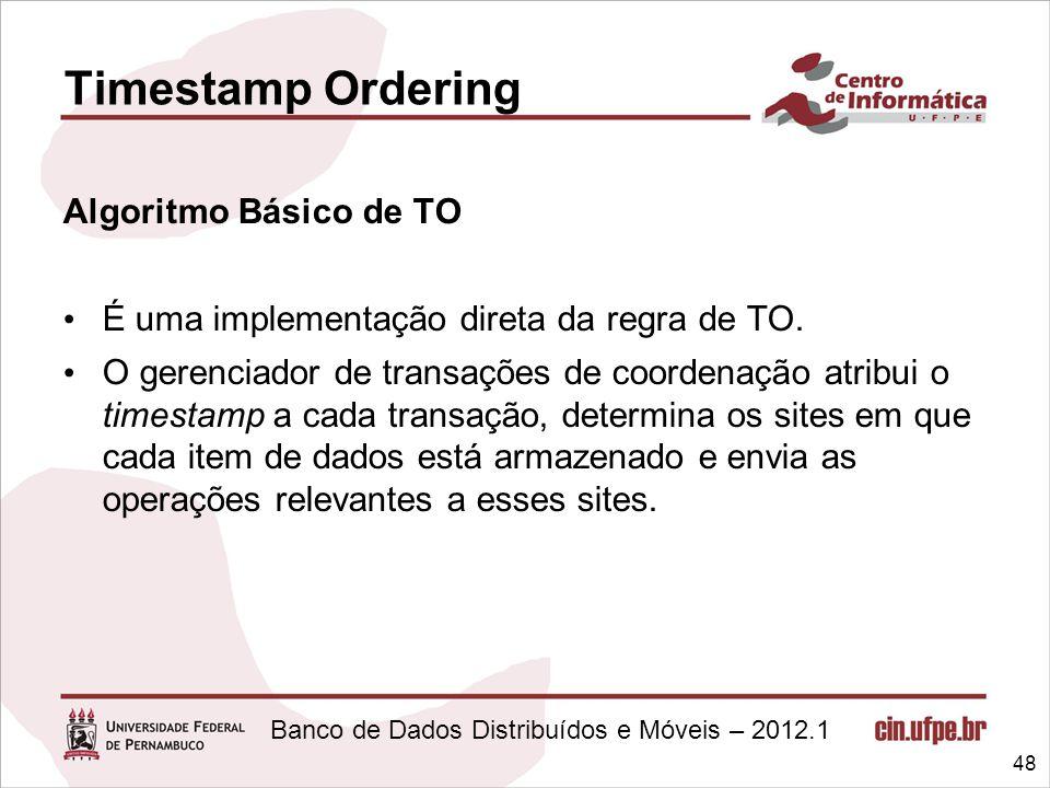 Banco de Dados Distribuídos e Móveis – 2012.1 Algoritmo Básico de TO É uma implementação direta da regra de TO. O gerenciador de transações de coorden