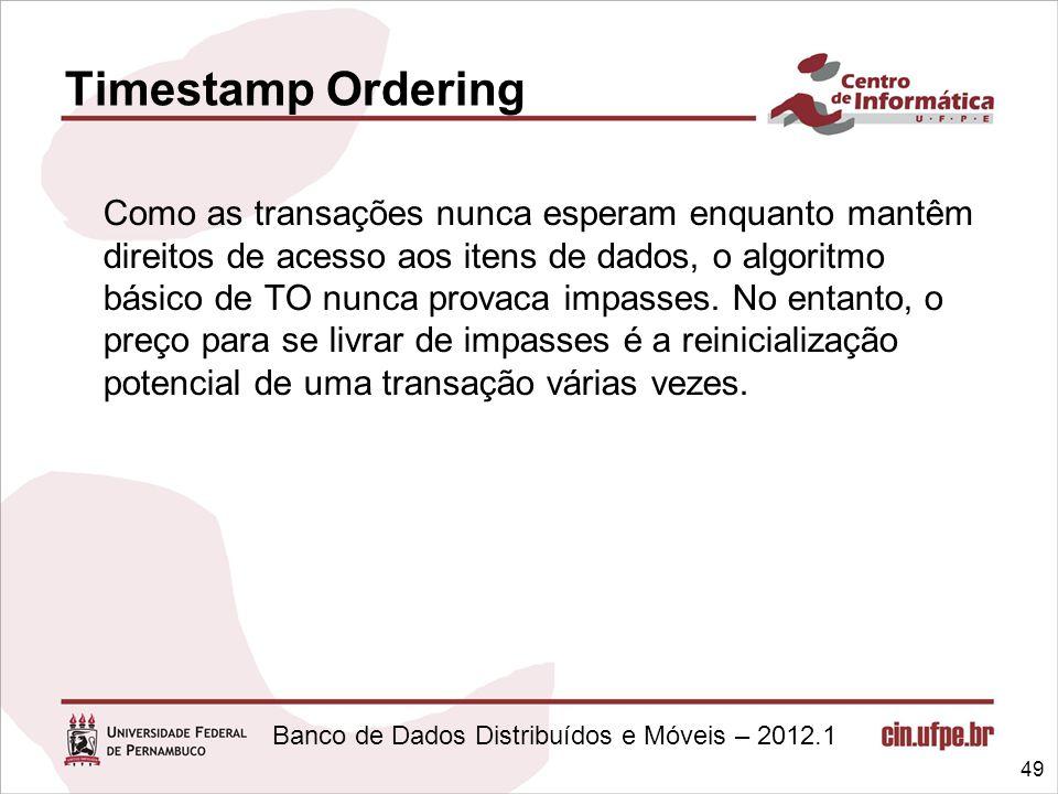 Banco de Dados Distribuídos e Móveis – 2012.1 Como as transações nunca esperam enquanto mantêm direitos de acesso aos itens de dados, o algoritmo bási