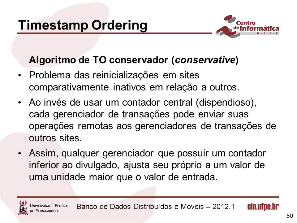 Banco de Dados Distribuídos e Móveis – 2012.1 Algoritmo de TO conservador (conservative) Problema das reinicializações em sites comparativamente inati