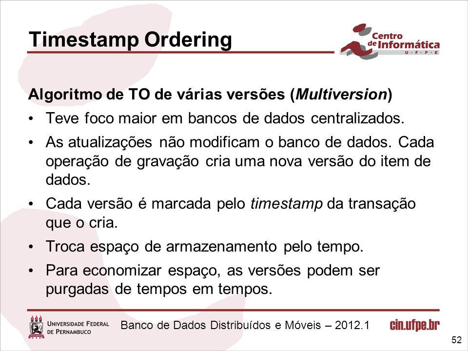 Banco de Dados Distribuídos e Móveis – 2012.1 Algoritmo de TO de várias versões (Multiversion) Teve foco maior em bancos de dados centralizados. As at