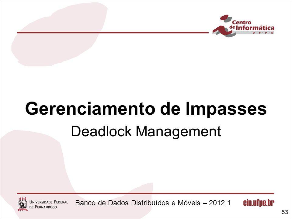 Banco de Dados Distribuídos e Móveis – 2012.1 Gerenciamento de Impasses Deadlock Management 53