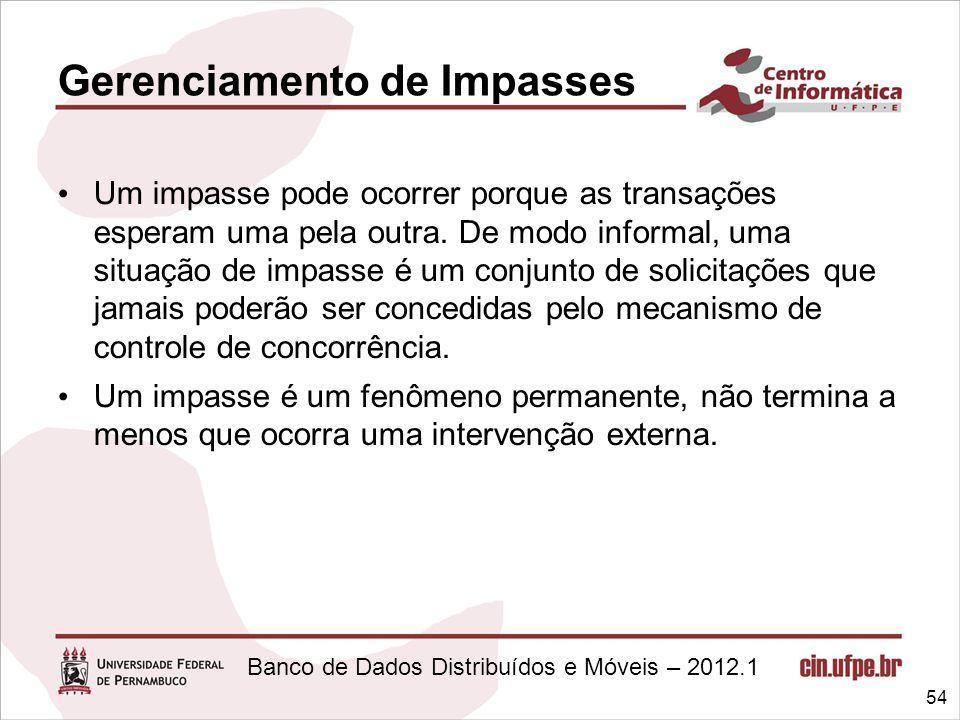 Banco de Dados Distribuídos e Móveis – 2012.1 Gerenciamento de Impasses Um impasse pode ocorrer porque as transações esperam uma pela outra. De modo i