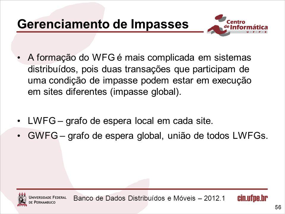 Banco de Dados Distribuídos e Móveis – 2012.1 Gerenciamento de Impasses A formação do WFG é mais complicada em sistemas distribuídos, pois duas transa