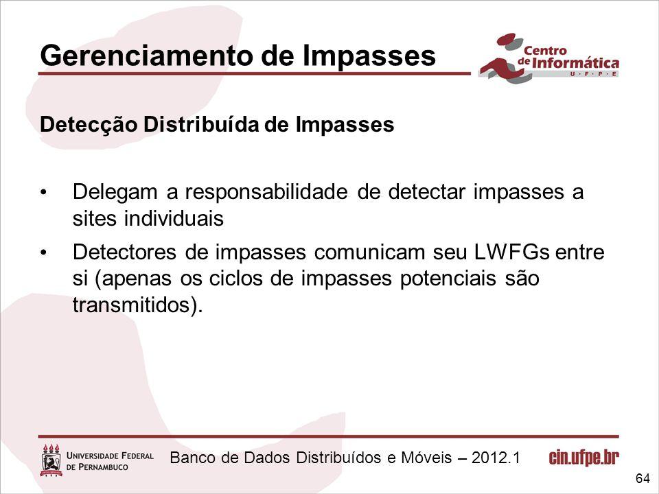 Banco de Dados Distribuídos e Móveis – 2012.1 Gerenciamento de Impasses Detecção Distribuída de Impasses Delegam a responsabilidade de detectar impass