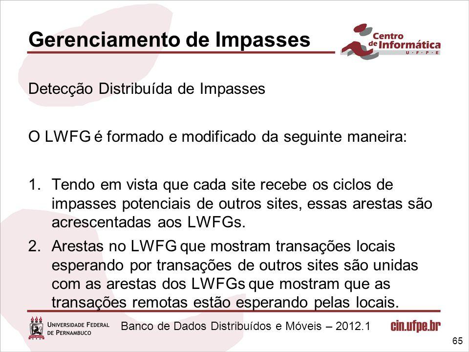 Banco de Dados Distribuídos e Móveis – 2012.1 Gerenciamento de Impasses Detecção Distribuída de Impasses O LWFG é formado e modificado da seguinte man