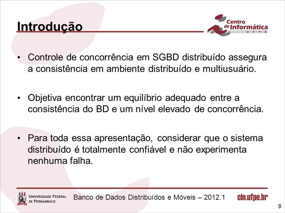 Banco de Dados Distribuídos e Móveis – 2012.1 Introdução Controle de concorrência em SGBD distribuído assegura a consistência em ambiente distribuído