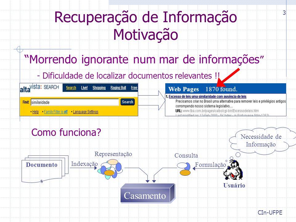 """CIn-UFPE 3 """"Morrendo ignorante num mar de informações """" - Dificuldade de localizar documentos relevantes !! Como funciona? Web Pages 1870 found. Usuár"""